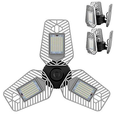 LZHOME 2-Pack LED Garage Lights, Deformable LED Garage Ceiling Lights 9000 Lumens, 82W CRI 80 Led Shop Lights for Garage, Adjustable Garage Lights, Led Garage Lighting (No Motion Activated)