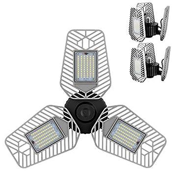 LZHOME 2-Pack LED Garage Lights Deformable LED Garage Ceiling Lights 9000 Lumens 82W CRI 80 Led Shop Lights for Garage Adjustable Garage Lights Led Garage Lighting  No Motion Activated