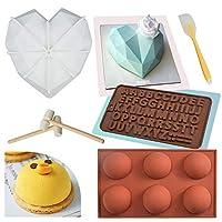 Doopro シリコンダイヤモンド ハート型 チョコレート用 6穴 半球形 シリコン型 割れるハートレター型 スパチュラ 木製ハンマー ベーキングパンセット チョコレートムースデザートケーキキャンディ作りに