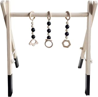 Toyvian Baby Fitness Frame with Hanging Bars Wood Activity Playing Gym Rack Kids Toddler Toy (Black)