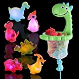 IPIGGO Bath Toy Light Up Floating Dinosaurs Toys, Set of 7 Bathtub Toys with Drawstring Hoop and Suction Cup, Silicone Floating Squirts Animials Bathtime Toys for Kids Toddler, No RPA, Phthalate-Free