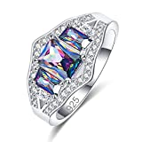 Empsoul Women 925 Sterling Silver Plated 3-Stones Princess Cut Best Gifts For Love Rainbow Topaz Wedding Engagement Ring Size 8