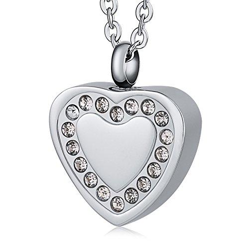Epinki Collar Urna Acero Inoxidable Zirconia Cúbica Corazón Colgante Urna para Cenizas Cremación Recuerdo Collar