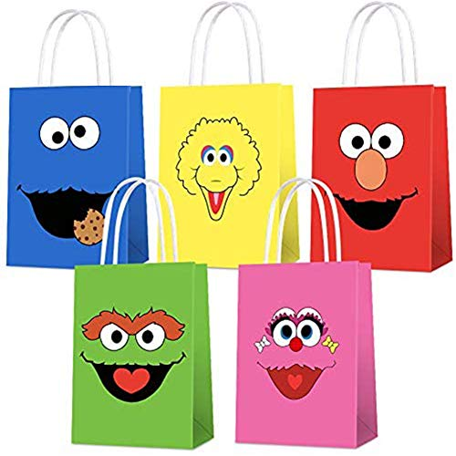 15 PCS Party Bags for Sesame Street Gift Bags Goodie Bags for Sesame Unique Street Party Supplies Party Favor Bags for Kids Birthday Party Decorations