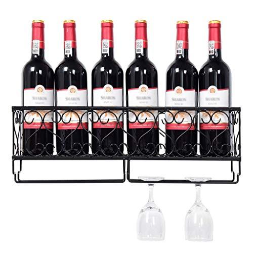 Botellero Estantería de Vino Wine Rack Soporte para Copas Wall Wine Rack Mounted Soporte for copas de cristal Negro del vino del metal Estante for botellas de vino de la sala principal for copas Vasos