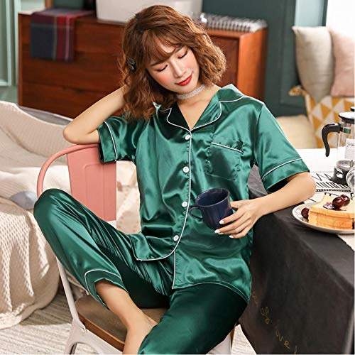 Women's Pajamas Set Silk Satin Pajamas Lapel Stand Collar Pajamas Ladies Long Sleeve Spring Pajamas 2-Piece Set