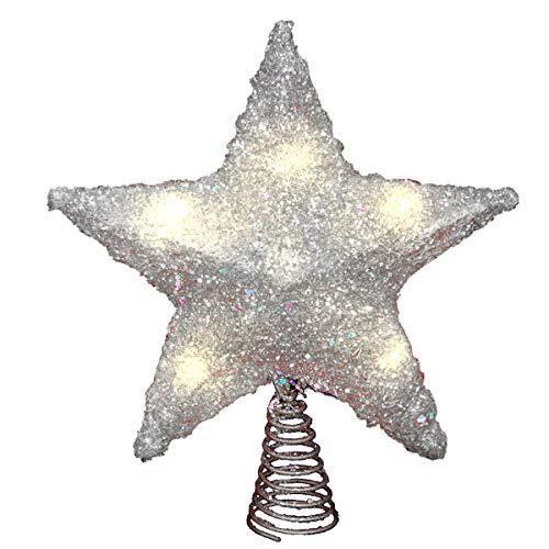LAWOHO Weihnachtsbaum Topper Stern Ornamente glitzernden Silber Festival Geschenk Display beleuchtet klar Dekor 10 Zoll