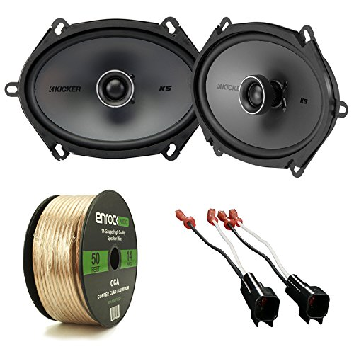 Car Speaker Package of 2X Kicker KSC684 6x8 inch 150-Watt KS-Series Black 2-Way Coaxial Speakers Bundle Combo with 2X Speaker Connectors for Select GM Vehicles + Enrock 50-Ft 14G Speaker Wire