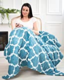 """EasyFluffy Electric Heating Blanket – Fleece Sherpa Blanket – 50""""x 60"""" Large Heated Throw Blanket – Heavy Blanket with Feet Pocket – Smart Auto Shut Off and 10 Heating Levels"""