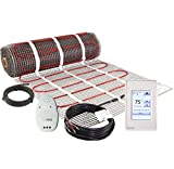 LuxHeat 30 Sqft Mat Kit, 120v Electric Radiant Floor Heating System for Under tile, Stone and Laminate. Kit Includes Alarm, Heated Floor Mat, OJ Microline Programmable Thermostat with GFCI & Sensor
