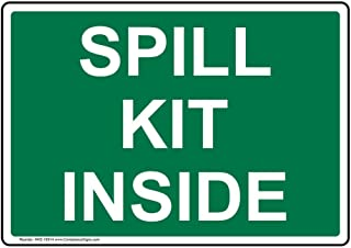 Spill Kit Inside Label Decal, 7x5 inch Vinyl for Facilities by ComplianceSigns