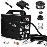 Goplus MIG 130 Welder AC Flux Core Wire Automatic Feed Welder Welding Machine w/Free Mask Commercial (Black)