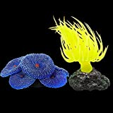 Jubaopen 2PCS Coral de Silicona de Acuario Corales Artificiales Coral Adorno Decoración Corales Falsos Decoración de Coral Artificial para Estanque de Pecera de Acuario (Azul y Amarillo)