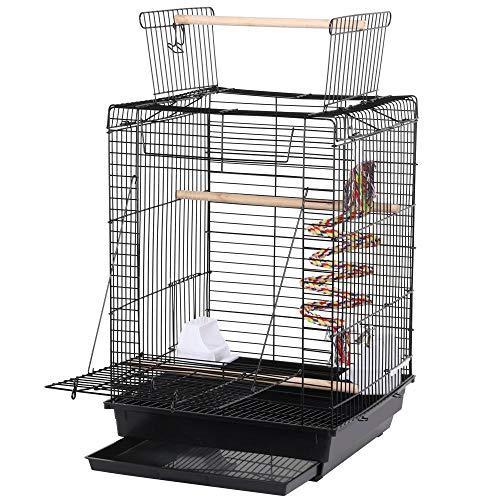 Yaheetech vogelkooi transportkooi Kanaria's groot zitje met vrije zitplaats en speelgoed