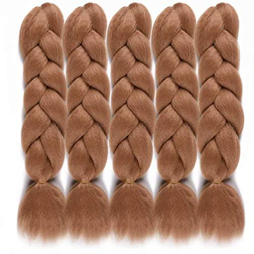WOME Kanekalon Braiding Hair Light Brown Jumbo Braiding Hair High Temperature Synthetic Fiber for Crochet Braids Extensions(Light Brown,24',5pcs)