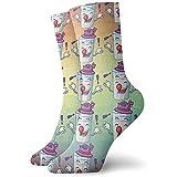 Photo Gallery be-ryl calza equipaggio giocoleria cartone animato latte dolce per colazione calzini sportivi invernali sportivi stampati lunghi 30 cm