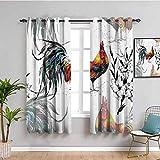 Gallos Decor Collection - Cortinas correderas para puerta corredera, diseño de gallos y flores, diseño de mariposas y mariposas, fácil de instalar, color amarillo, verde azulado azul
