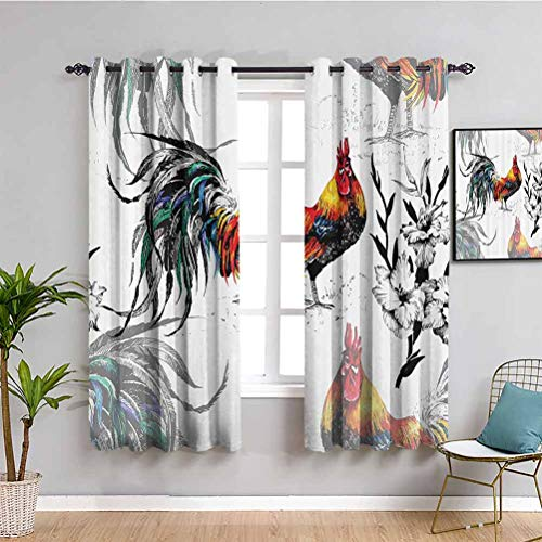 Gallos Decor Collection Bedroom Decor Blackout Shades Roosters Crowing Sound Silhouettes and Flowers Insect Butterfly Standing Plumage Art Bathroom Curtain Yellow Teal Blue W63 x L63 Inch