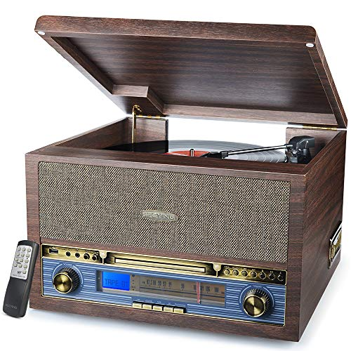 Record Player Turntable Bluetooth 3-Speed Vinyl CD MP3 FM Radio USB Cassette Player with Speakers Vinyl to MP3 Recording, 13-in-1 Classic Wooden Turntable