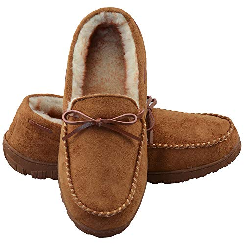 LA PLAGE Moccasin Slippers for Men Indoor/Outdoor Arch Support Moccasin Microsuede House Slippers 11 US Brown