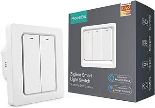 MoesGo Interruttore a bottone smart Tuya Zigbee per luci da parete filo neutro richiesto 1 via o 2 vie multicontrollo, com...