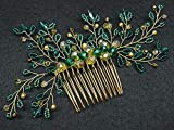Deniferymake-up - Tocado de cristal esmeralda para novia, accesorio para el pelo, color verde