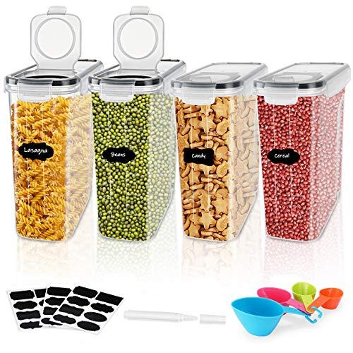 Gifort Recipientes para Cereales, Jarras de Almacenamiento de Almacenaje de Plástico Sin BPA con Etiquetas y Cucharas, Botes Cocina de Alimentos Herméticos para Cereales Harina, Pastas, café (4L*4)