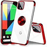 HOOYEELUN Google Pixel 4 XL Case Clear with Design, Electroplated with Ring Kickstand Fit Magnetic Clear Silicone Slim Fit Soft TPU Cover Pixel 4 XL - Red