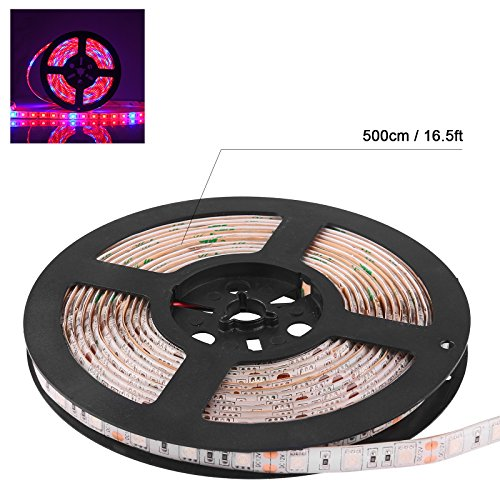 Waterproof 5050 Flexible LED Grow Strip Light Red and Blue 5:1 Aquarium Greenhouse Hydroponic Plant Growing Tape Lamp 60led/m 5M