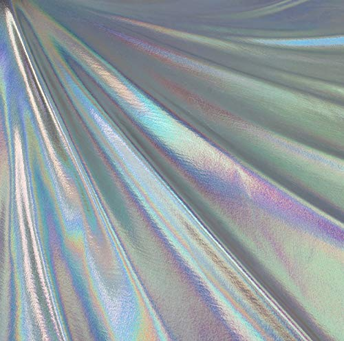 Metallic Foil Lame Spandex Knit Fabric (Silver Iridescent Hologram, 2 Yards)
