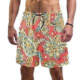 LORVIES - Bañador para hombre, diseño de cachemira con flores, estilo indio, de secado rápido, talla L multicolor M