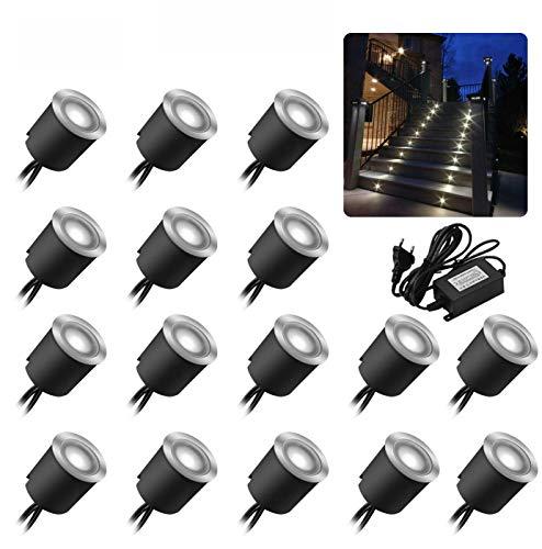 Lot de 16 spots LED encastrables au sol - Étanchéité IP67 - 0,6 W - Diamètre : 32 mm - Pour l'intérieur et l'extérieur - 4000 K - Blanc - 12 V