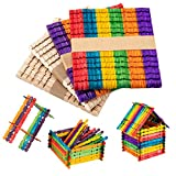 Anphsin 200 Pcs Colorful Sawtooth Wood Craft Sticks- Assorted Color and Natural Wooden Popsicle Sticks Jumbo Ice Pop Treat Sticks Bulk for DIY Craft Project, Classroom Creative Designs