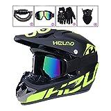 LEENY Motocrosshelme Motorrad Off-Road-Helm Kinder Crosshelme Set mit Handschuhe/Maske/Brille/Fahrradschloss, Motorradhelm Herren Damen Schutz-Helm Downhill Enduro ATV MTB BMX-Helm,C,XL(58cm~59cm)