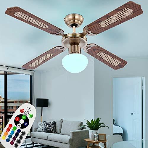 LED Decken-Ventilator mit Zugschalter inkl. RGB Fernbedienung DIMMBAR Farbwechsler Wind Lüfter Lampe Vor-Rücklauf einstellbar 3 Stufen Büro Flur Schlafzimmer