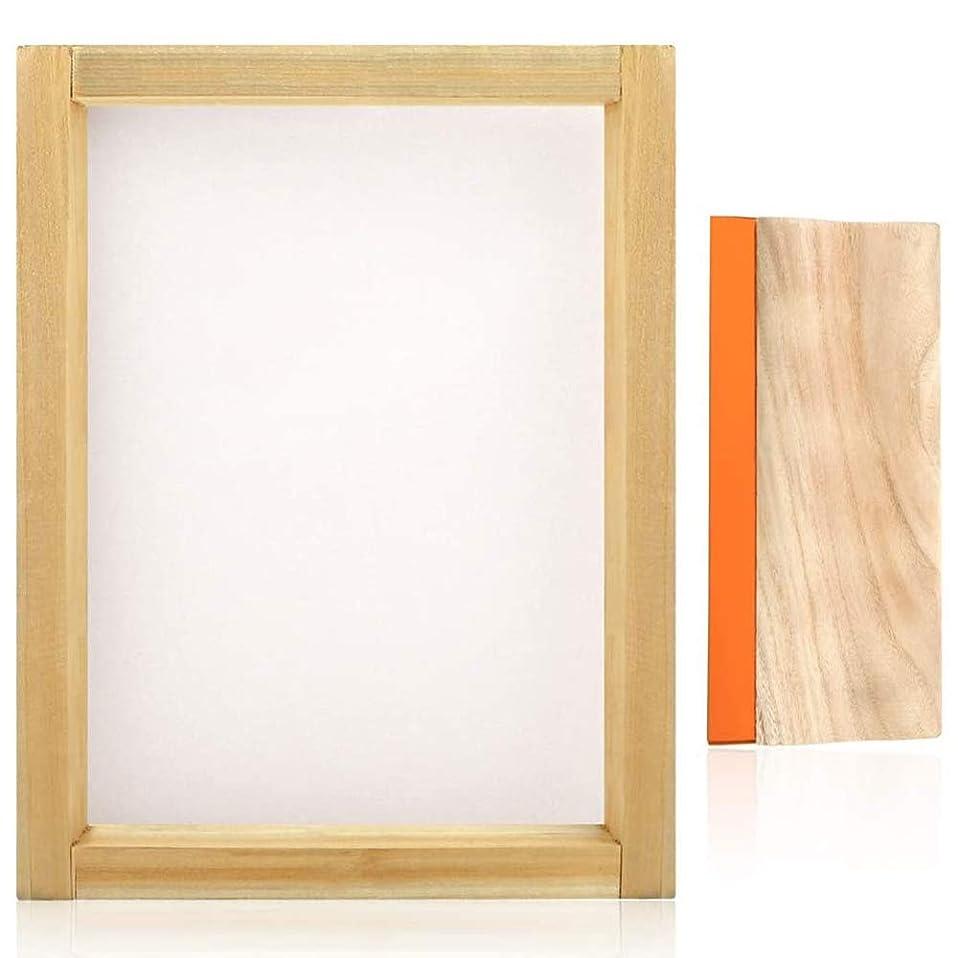 ガイドライン窓句読点Gaoominy スクリーン印刷用、110ホワイトメッシュ、9.4インチ、スクリーン印刷スキージを備えた、10X14インチ、ウッドシルクスクリーン印刷フレーム
