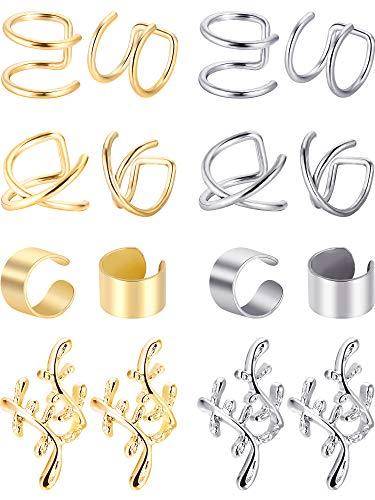 Blulu 8 Paar Nicht Piercing Edelstahl Ohr Manschette Set Knorpel Manschette Clip Auf Ohrringe Gefälschte Ohr Manschette für Damen (Stahl und Gold)