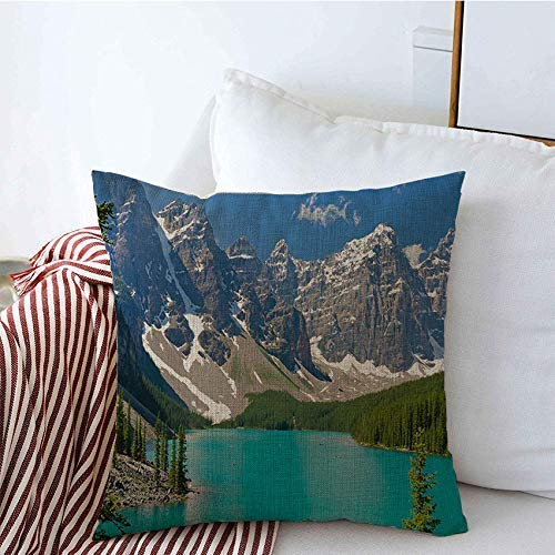zhengchunleiX Pillow Cases Mejastic Mountain Lake Scenery Canada Nature Parks Sky Louise Beautiful Outdoor Emerald Green Blue Cushion Cover