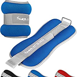 Movit® Set of 2 weight cuffs neoprene with reflector material and terry insert Barrel weights for wrists and ankles 2X 0,5 kg blue