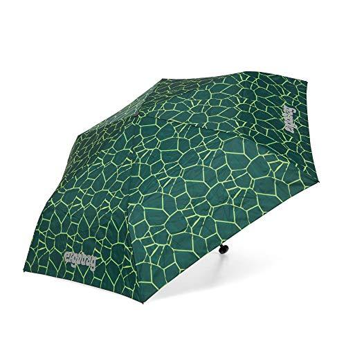 ergobag Regenschirm Schultaschenschirm für Kinder, extra leicht mit Tasche, Ø90cm - BärRex, Grün