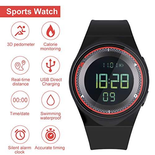 RCruning-EU Schrittzähler Fitness Armband Wasserdicht IP68 Aktivitätstracker,Schrittzähler,Kalorienzähler Ohne Bluetooth für Damen Kinder Herren Ohne App Handy (Red)