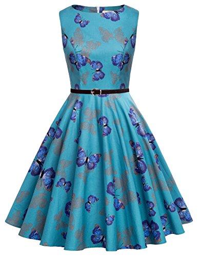 Vestido Floral de Verano sin Mangas de la Vendimia para Mujer L CL6086-58