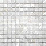 Mosaïque de nacre nature Lit de Rivière Pearl Coque mosaïque carré blanc 25mm