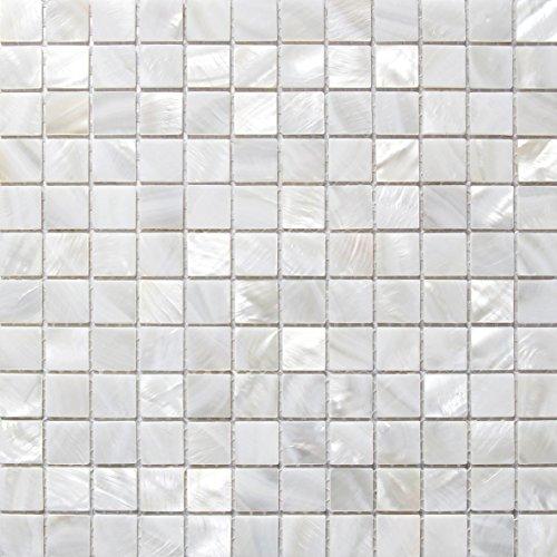 Perlmutt Mosaik Fliesen Fluss Bett natur Pearl Shell Mosaik Quadratisch Weiß 20 mm