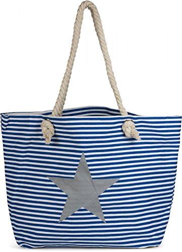 styleBREAKER Strandtasche XXL in Streifen Optik mit Stern Print und Reißverschluss, Shopper, Badetasche, Damen 02012165, Farbe:Blau-Weiß/Silber