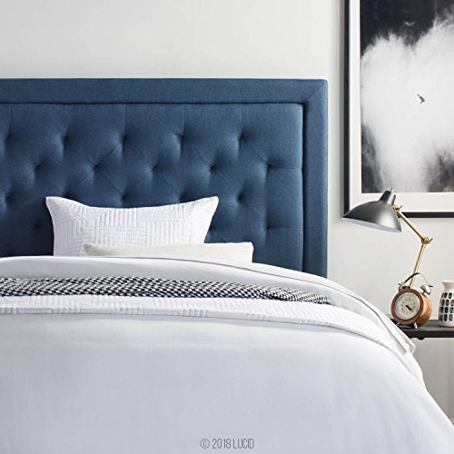 LUCID Bordered Upholstered Headboard with Diamond Tufting, Queen, Cobalt
