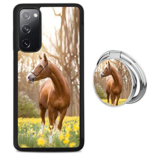 Black Samsung Galaxy S20 FE 5G Case with Ring Holder Stand Horse Pattern 360 Rotation Ring Grip Kickstand Soft TPU and PC Anti-Slippery Design Protection Bumper for Samsung Galaxy S20 FE 5G