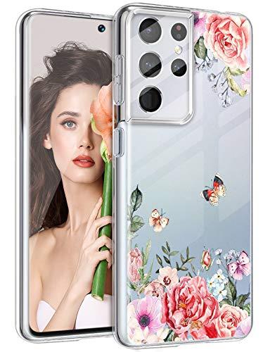 Funda para Samsung Galaxy S21 Ultra para mujeres y hombres, funda de silicona S21 ultra resistente a los golpes, diseño de flores S21 Ultra 5G funda para Samsung Galaxy S21 Ultra 2021 Sport