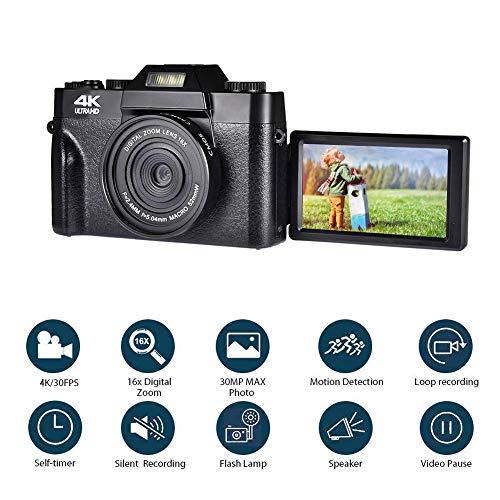 ZCFXGHH Videocamera 48MP 4K Videocamera HD IPS Screen Portatili 16x Bambini Zoom Digitale Foto Fotocamera Supporta i Esterno Lente e Mic