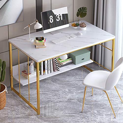 RYSB Mesa para Portátil,Estantes De Almacenamiento Escritorio Mesa para Ordenador,con Patas De Metal Estilo Industrial Escritorio De Oficina,Mesa De Estudio,Muebles Modernos-Doble 120cm(47inch)